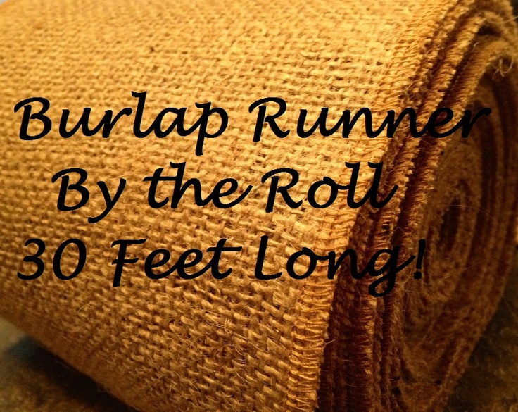 "By the ROLL - 12"" wide Natural Burlap Table Runner - Wedding or Party - By the Roll or Custom Lengths burlap runners. $27.99, via Etsy."