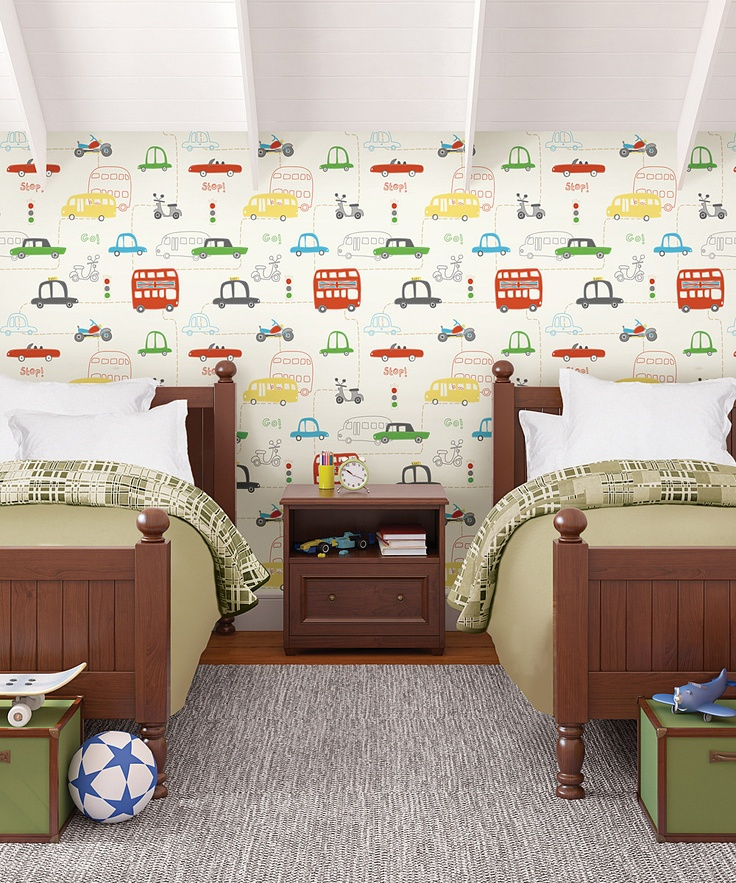 Best Preschool Boy Room Images On Pinterest Boy Rooms - Boys car wallpaper designs
