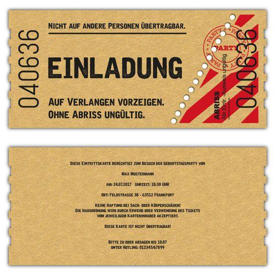 Exklusive Einladungskarten Als Flugticket, Ticket, Boarding Pass,  Konzertkarte, Geburtstag, Hochzeit,