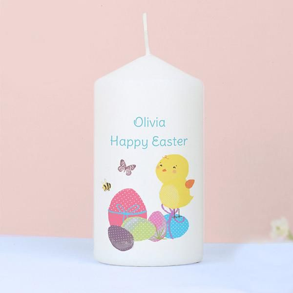 Personalised Easter Meadow Chick Candle - The Hut Market - Personalised Gift Shop