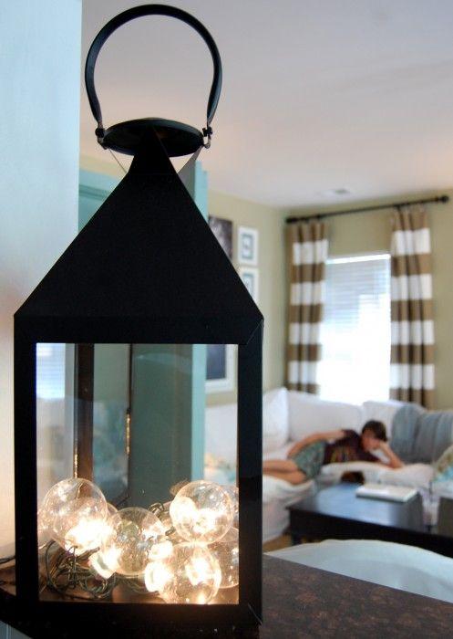 .fill a big lantern with string of globe lights: Lanterns Decor, Lighting Idea, Crafts Idea ...
