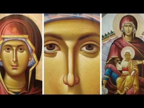 """Byzantine Iconography """"Platytera"""" wallpainting ."""