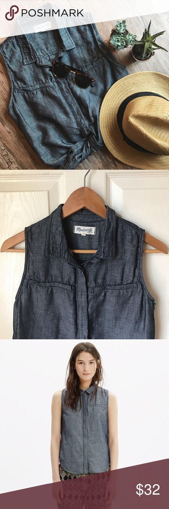 🍦Madewell sleeveless denim shirt A sleeveless chambray button-down shirt, perfect on its own or layered best-style over a tank. Size: XS.          🔴SALE!! Bundle Any 3 items marked with🍦for $39🔴 Madewell Tops Button Down Shirts