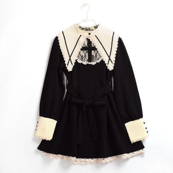 Harajuku Black Lolita Dress Women Vintage Nun Sister Dark Cross Gothic Long Sleeve Lace Punk Dresses