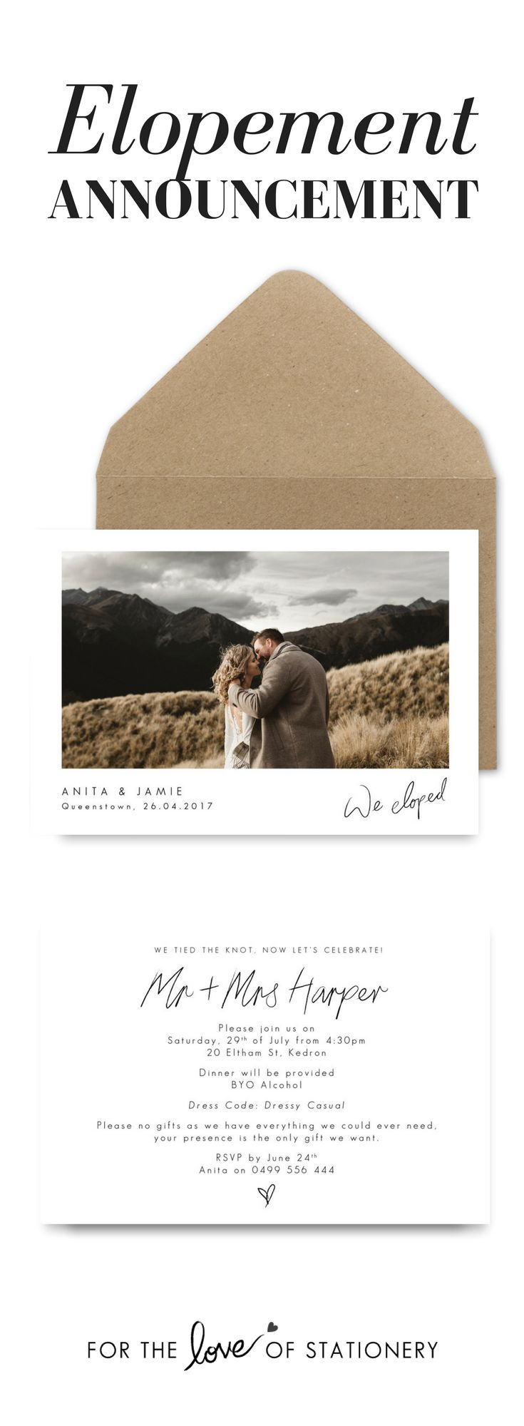 We Eloped! | Elopement Announcement | Elopement Invitation | Dawn Thomson Photography | For the Love of Stationery