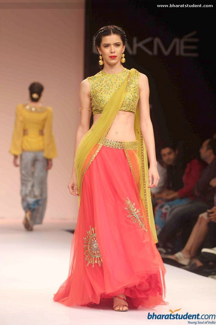 Green and pink lengha by Shilpa Reddy Studio at LFW  https://www.facebook.com/shilpareddystudio