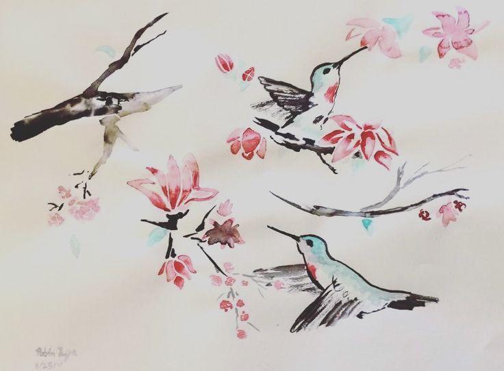 #art #sumelink #ink #Painting #hummingbird #cherylblossom #simplicity #beauty