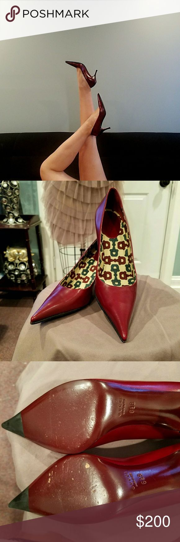 Vintage Gucci Heels Authentic Maroon Gucci Heels. Size 6 1/2. Heel is about 2 1/2 inches.  Only worn twice, in VERY good condition. It's a classic style that goes beautiful with pants and dresses. Shoes Heels