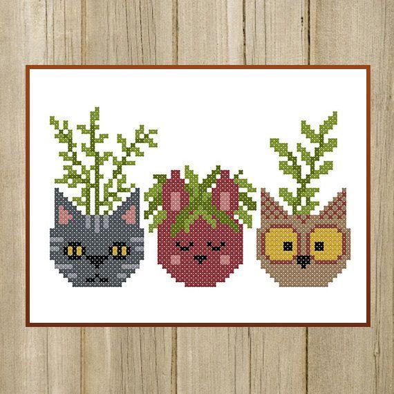 PDF. Flower Pots Cat Bunny Owl. Cross stitch by SecretFriends