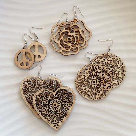 Wood Earrings / Natural Wood / Wood Shapes / Lightweight Earrings / Wood Cut / Beige or Neutral Earrings