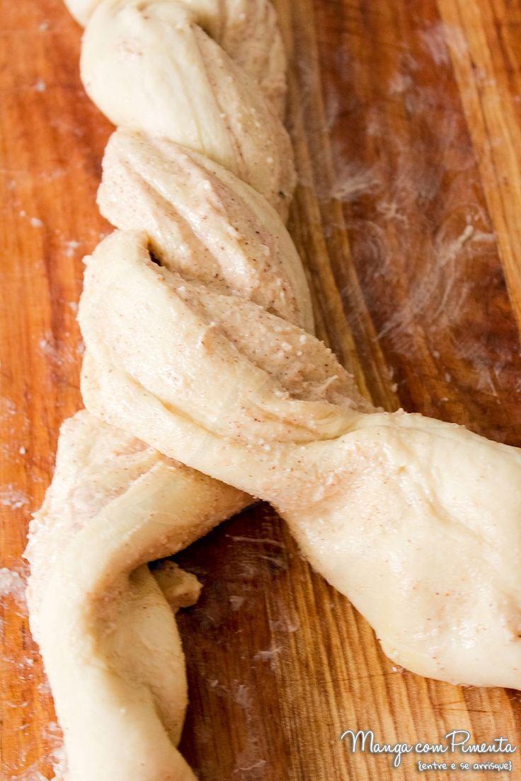 Receita de Pão Trançado de Canela {Receita Americana Braided Cinnamon Wreath}