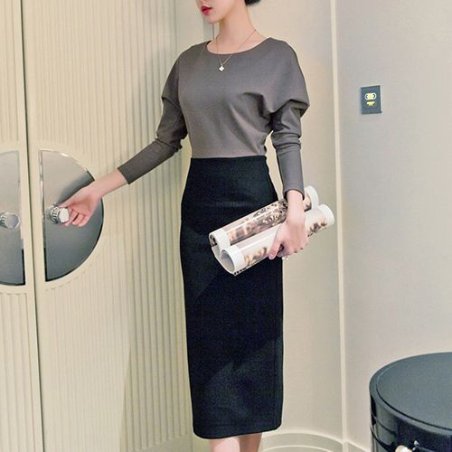 You will never know you can become so elegant,charming and glamorous in this dress. It features contrast color style,with long sleeve,round neck and slim fit design. With waistband design makes it more attractive. Don't hestitate,take it to your home!