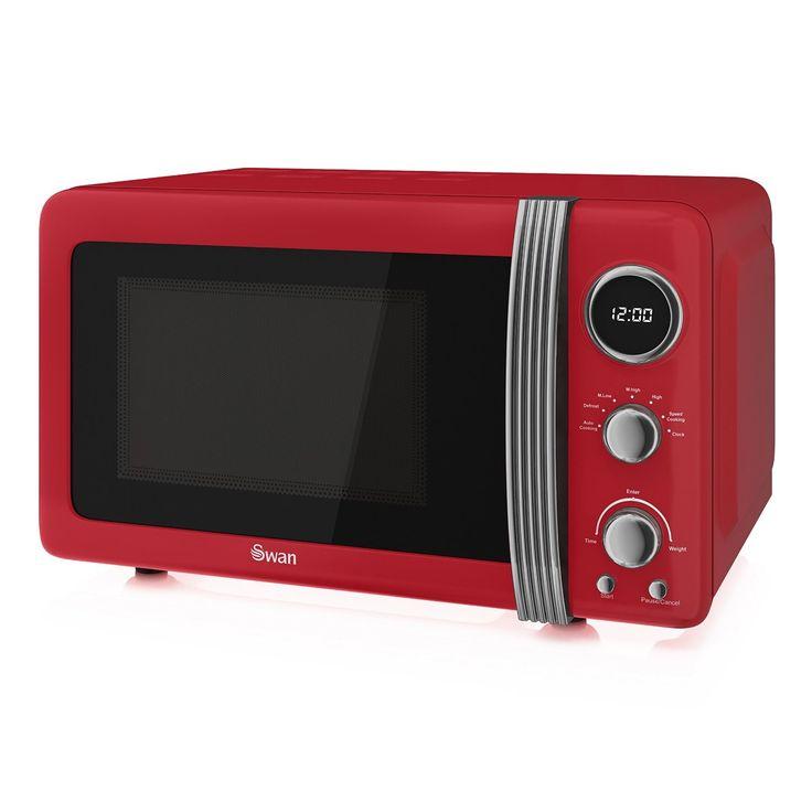 Swan Retro Digital Microwave 20 Litre 800 Watt Red Microwavelime Green