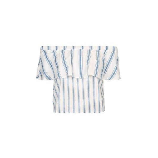 TopShop Layered Striped Bardot Top ($43) ❤ liked on Polyvore featuring tops, blue, white top, flounce top, off the shoulder tops, flutter-sleeve top and white off the shoulder top