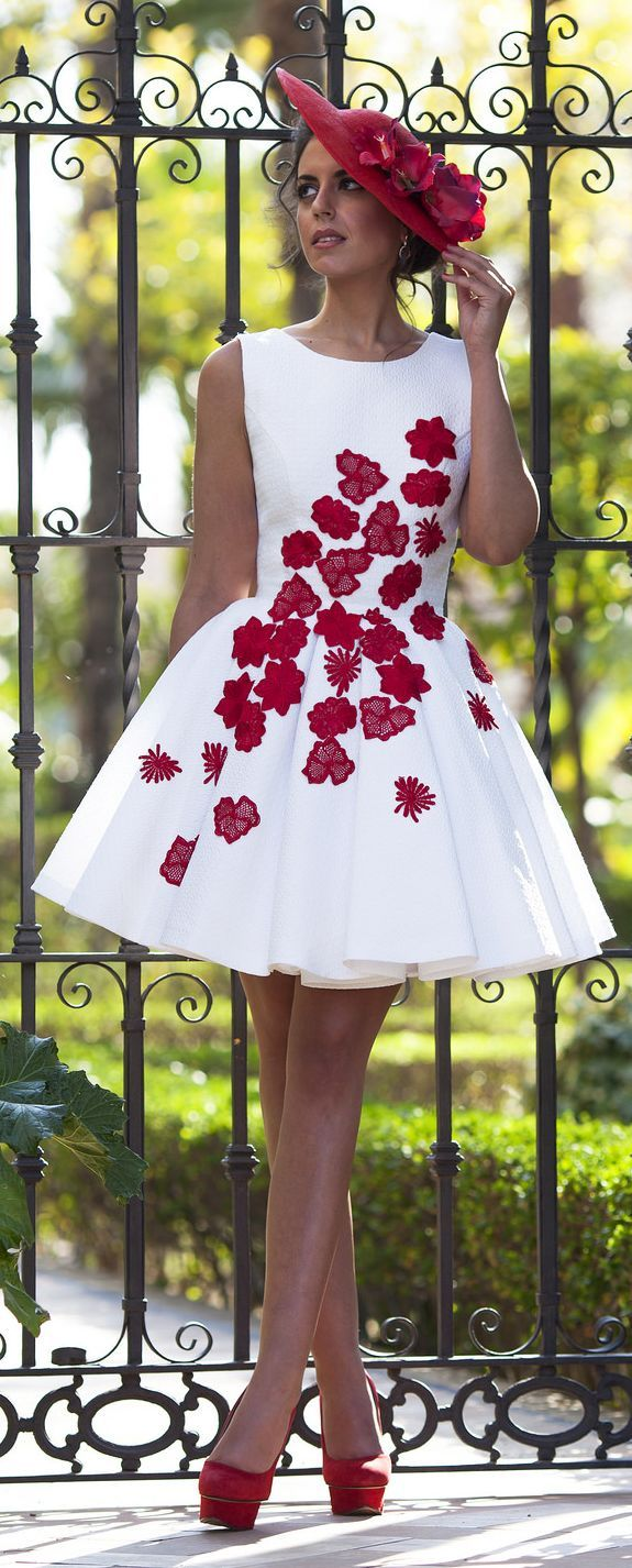 Pinned via Nuriyah O. Martinez | Silvia Navarro Poppy Print Sleeveless New Collection Skater Dress