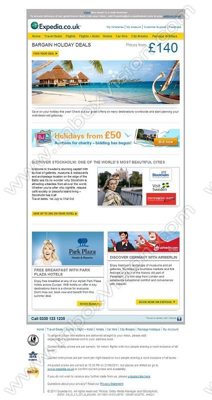 Company:    Expedia.co.uk   Subject:    Our best holiday deals for all budgets             INBOXVISION is a global database and email gallery of 1.5 million B2C and B2B promotional emails and newsletter templates, providing email design ideas and email marketing intelligence http://www.inboxvision.com/blog
