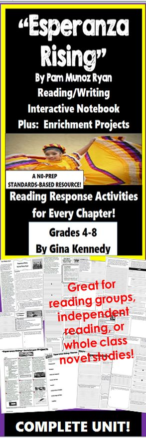 "No-prep standards based ""Esperanza Rising"" interactive notebook complete unit with follow-up reading response activities for every chapter as well as enrichment projects! Easy engaging way to use this award winning novel by Pam Munoz Ryan in your classroom while encouraging critical reading skills.  Everything you need to use this novel in your classroom effectively is included with this resource.  This interactive notebook includes comprehension reading/writing response activities and ....$"