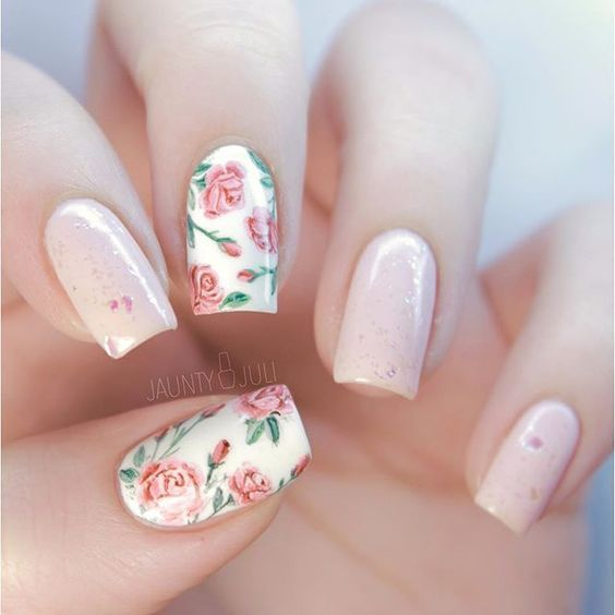 Elegant Floral Print Nails  #nails #floral #print #amazing #winter #pink