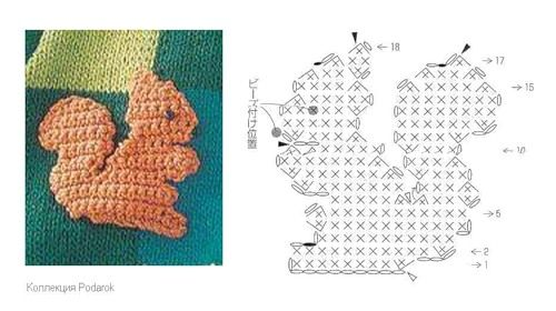 Crochet Squirrel Applique Pattern