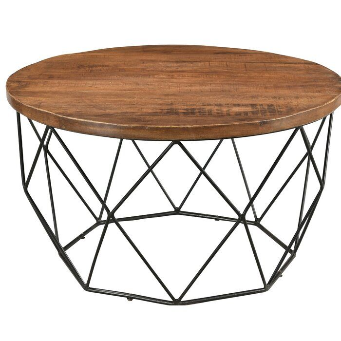 Fatima Round Cocktail Table With Tray Top Round Wooden Coffee