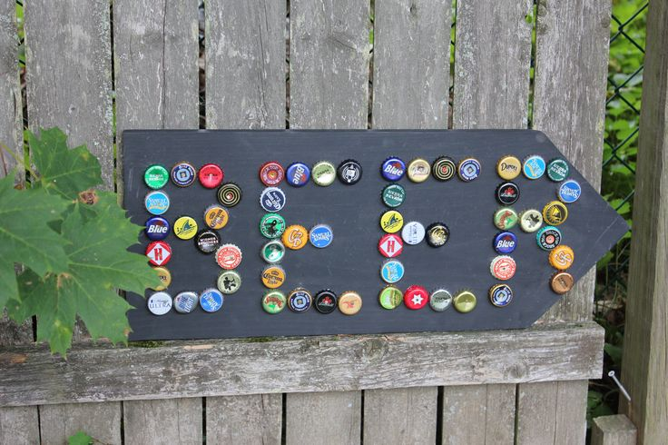 Bottle Cap Beer Sign Arrow by colleenkcreations on Etsy, $29.00 or DYI!!