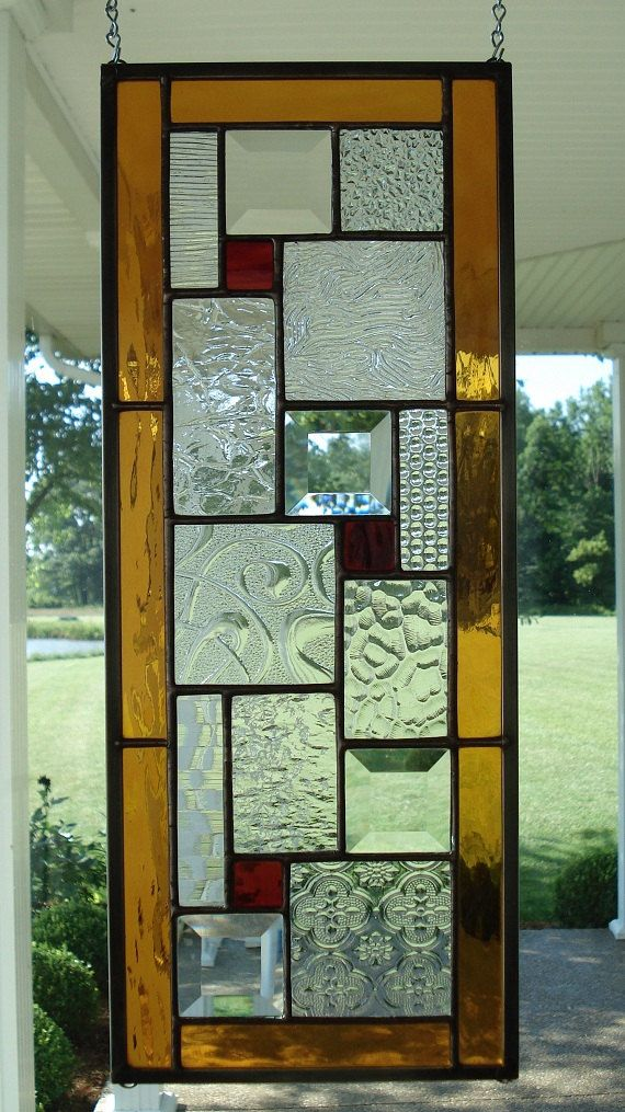 Stained glass window panel with ambers reds window for Window glass design in kerala