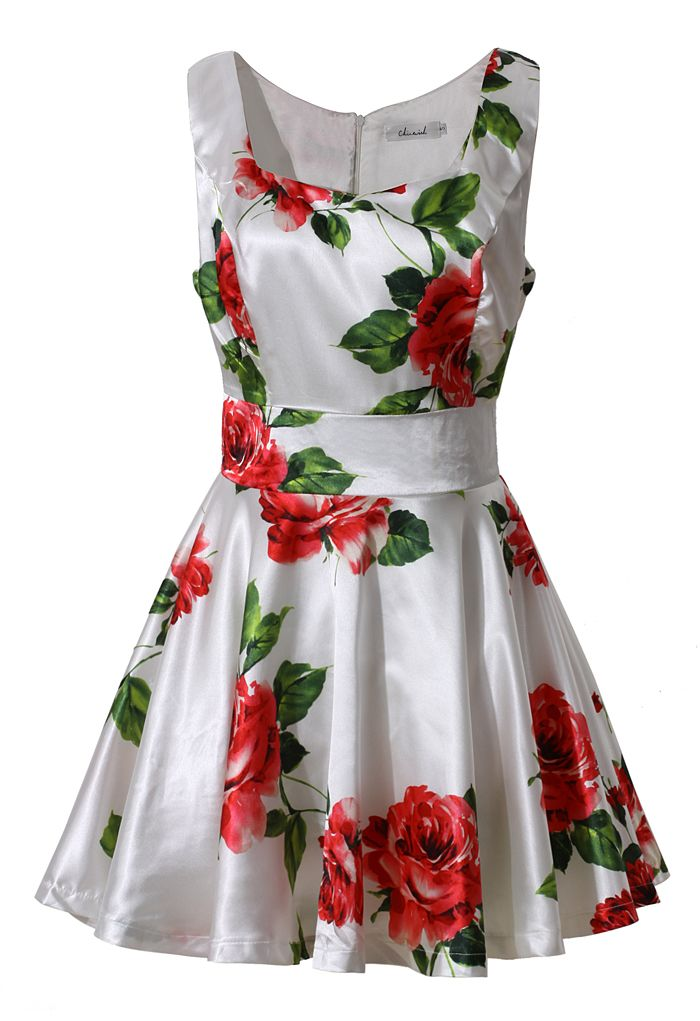 Red Rose Print Dress