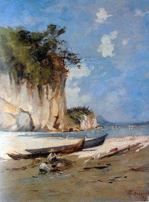 ANTONIO PARREIRAS Vista da Ilha de Boa Viagem, tomada da Praia Vermelha Óleo sobre tela - 38,6 x 29,5 - 1891 Coleção Jorge Roberto Silveira, Niterói