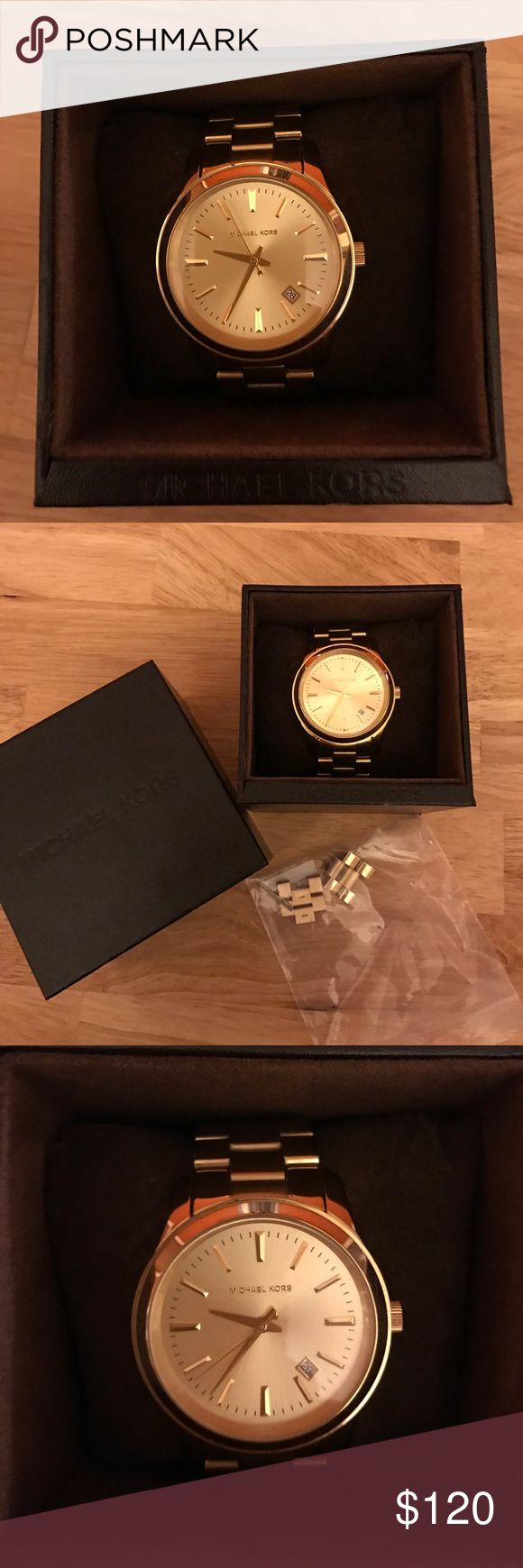 Michael Kors gold Runway watch Michael Kors gold runway watch. Gently used. Comes with box and extra links. Battery still works. Accessories Watches