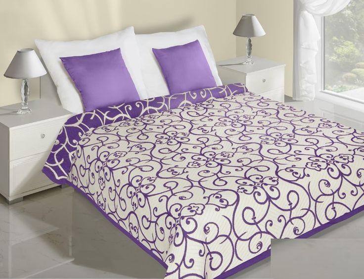 Květiny fialově krémové přehozy na postel oboustranné