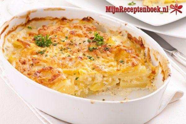 Anna's aardappelgratin met room, crème fraiche en kaas recept