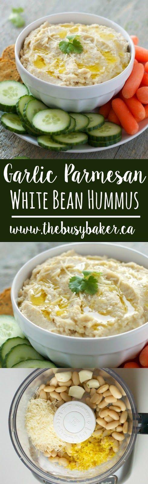 Garlic Parmesan White Bean Hummus recipe from http://thebusybaker.ca!