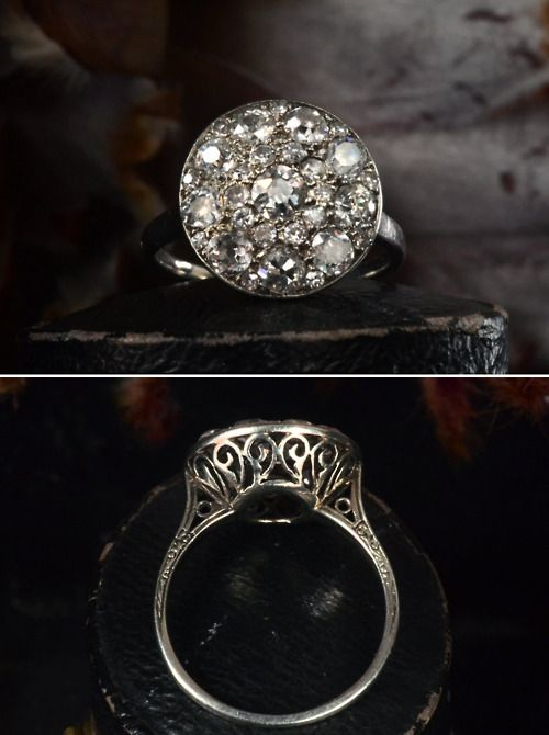 Early 1900s French Platinum Filigree Cluster Ring, ~1.50ctw European Cut Diamonds