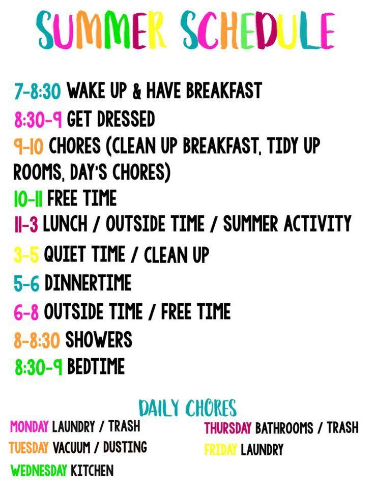 Summer Schedule For Kids Kids Schedule Kids Summer Schedule Summer Activities For Kids