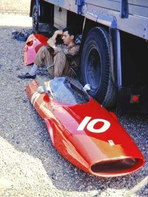 the bodywork of John Surtees' Ferrari 156, 1963 British Grand Prix, Silverstone