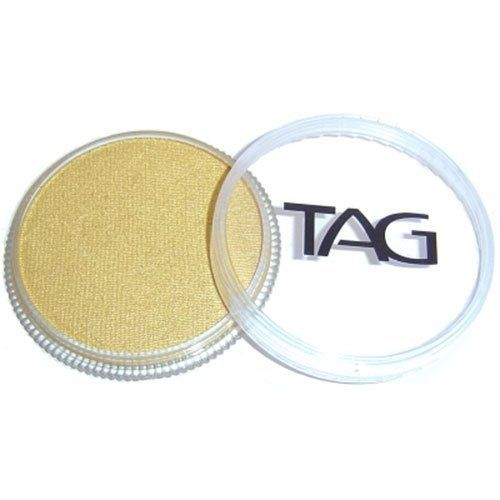 TAG Face Paints - Pearl Gold (32 gm) by TAG Body Art. $7.65. Great for line work. TAG Pearl Face Paint is a little softer than TAGs regular paints and contain Mica for a metallic sheen. TAG Pearl Face Paint does not contain any metal.. Each 32 gram TAG Face Paint Container is good for 50-200 applications.. TAG face paint is hypoallergenic and made with non-toxic, skin safe ingredients.. TAG Face Paint is very easy to blend, soft on the skin and does not crack or peel.. TAG...