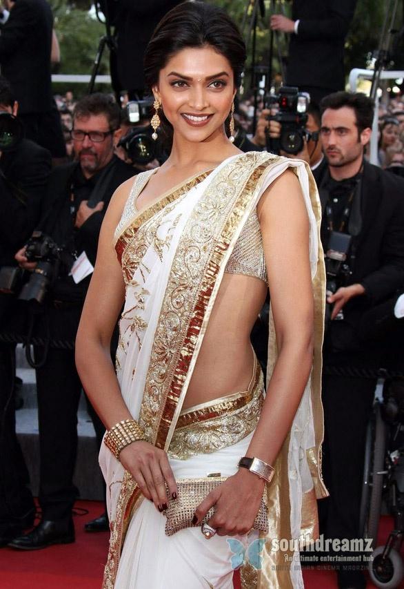 Bollywood-Actress-  Deepika Padukone in saree photos on Tour Premiere at Cannes