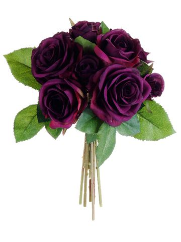 Silk Rose Wedding Bouquet in Eggplant 9.5in. Tall, 6in. Diameter Looking for eggplant wedding flowers? Check out this beautiful silk rose wedding bouquet in a rich eggplant purple that offers a hassle-free and cheap alternative to fresh flowers. The perfect pop of color as a bouquet or centerpiece for your wedding or special event. #afloral