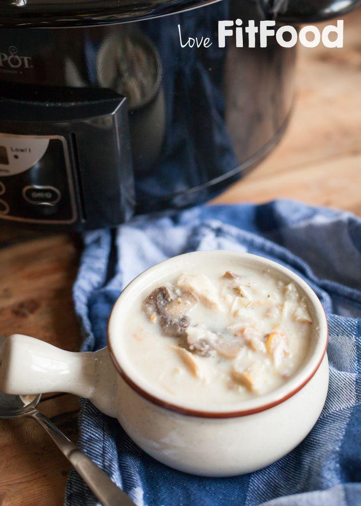 Goedgevulde champignonsoep met kip en meergranenrijst (uit de Crock-Pot)