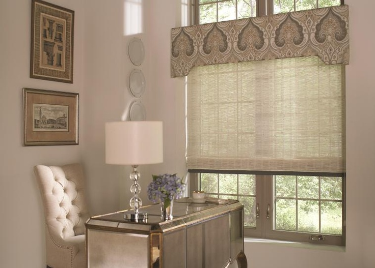 Decorative cornice with textured roller shade.