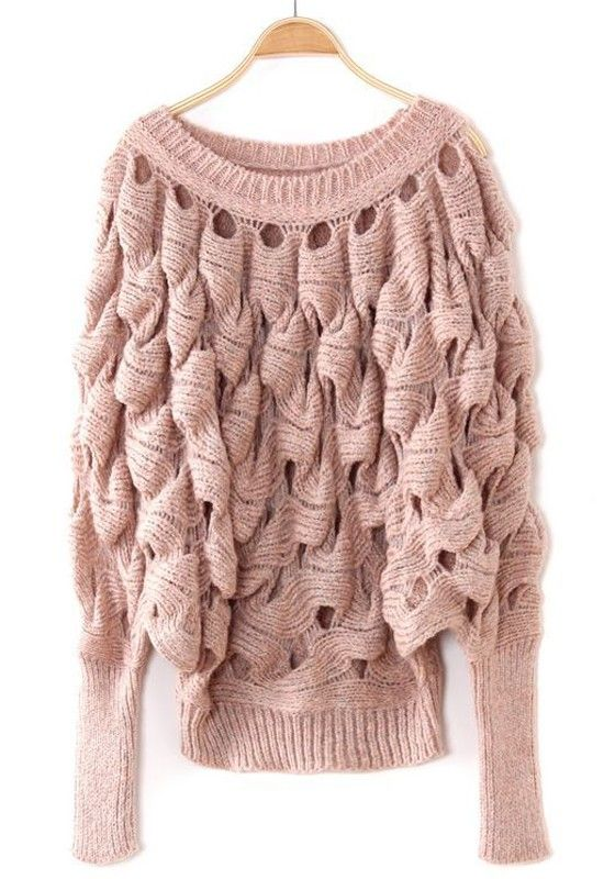Pink Hollow-out Bat Sleeve Loose Acrylic Sweater