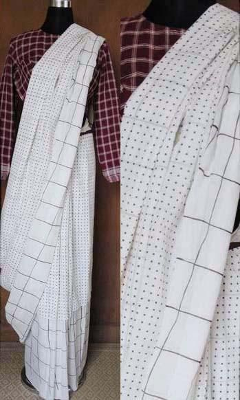 k50b Cadence Layered Sari In Hand Woven Soft Mulmul Cotton