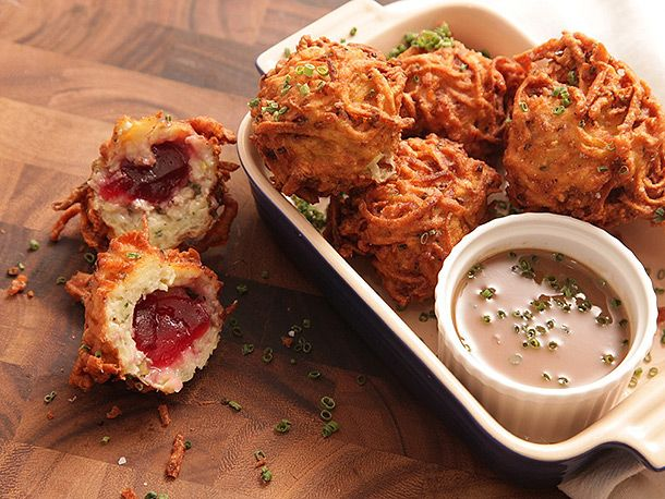 Latke-Crusted Turkey Stuffing Fritter with Liquid Cranberry Core and Turkey Schmaltz Gravy