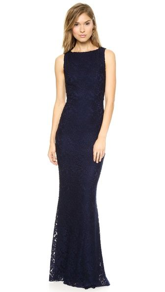 Beautiful navy lace gown for a formal wedding guest dress
