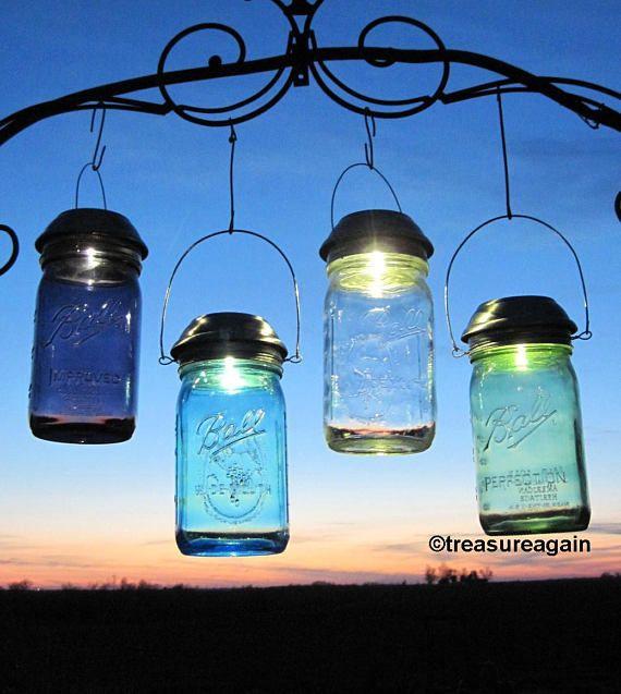 Mason Jar Solar Light New Purple Green