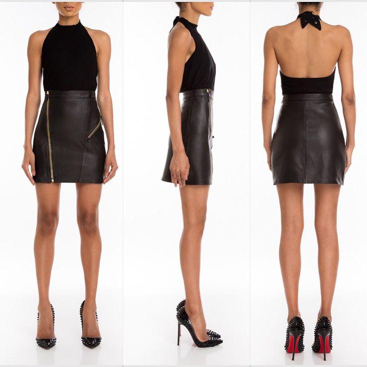 #manokhi high waisted black leather skirt !