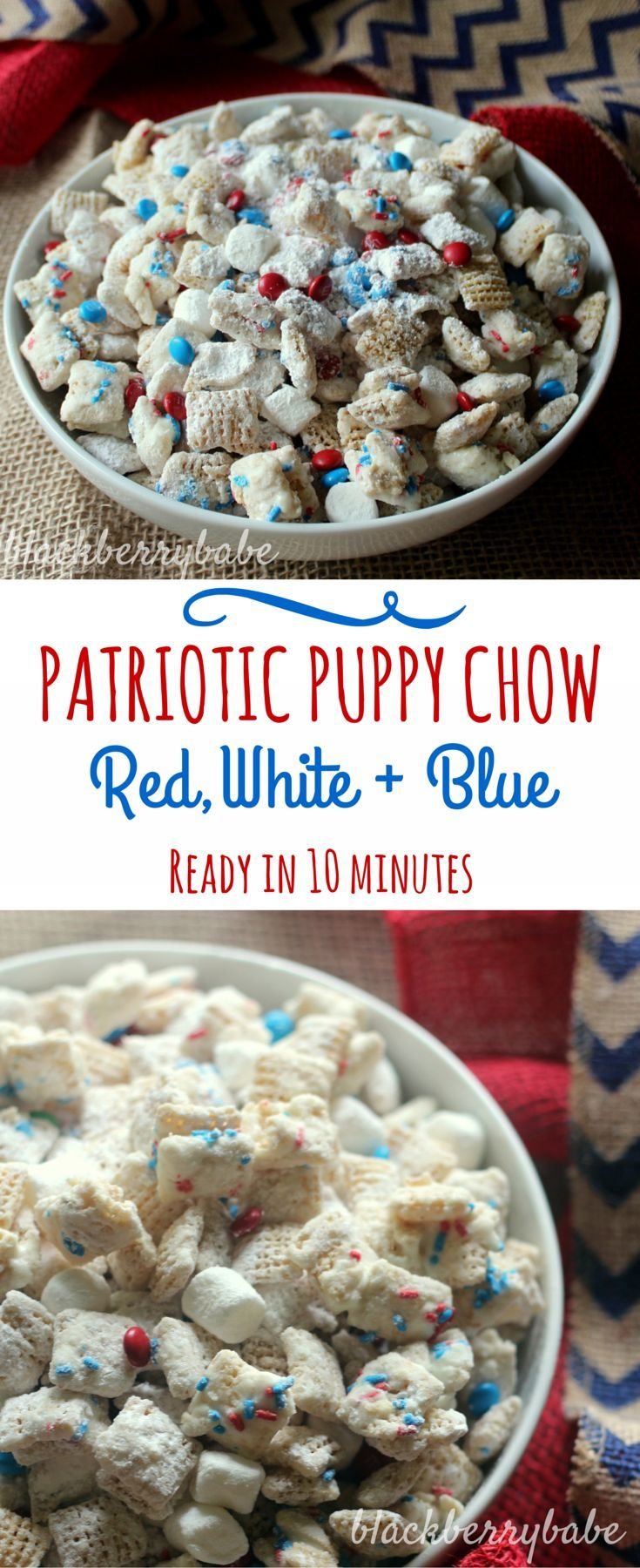 Patriotic Puppy Chow! Perfect easy dessert for the 4th of July. White Chocolate puppy chow mixed with red, white and blue M&Ms, sprnikles and marshmallows. YUM!
