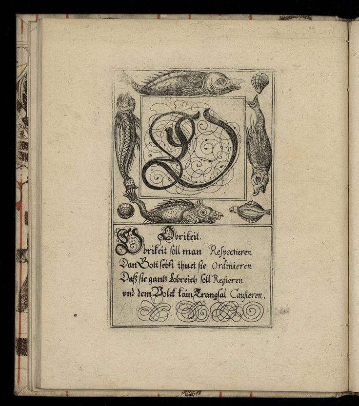 The letter O from a 1713 German