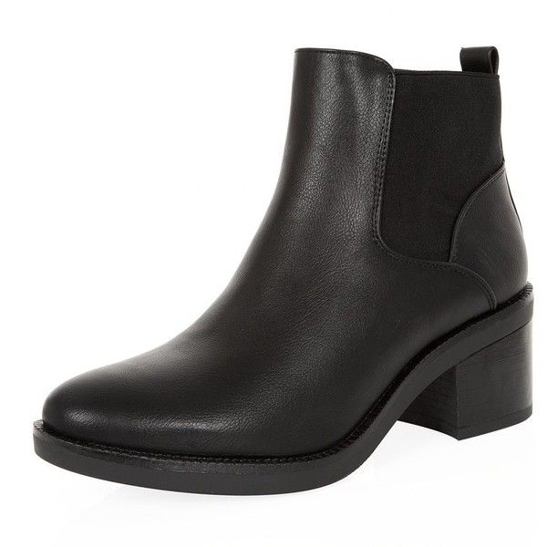 Black Block Heel Chelsea Boots (49 BRL) ❤ liked on Polyvore featuring shoes, boots, ankle booties, ankle boots, botas, beatle boots, vegan booties, black ankle boots, block heel ankle boots and black bootie boots