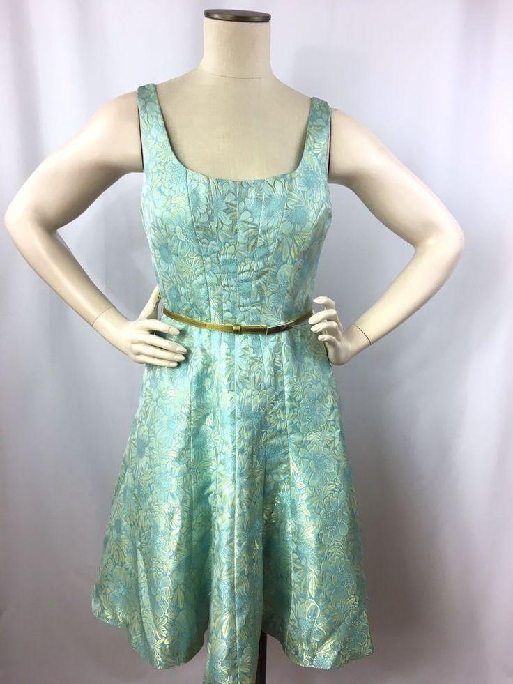 Nine West Dress Size 6 A-Line Sleeveless Belted Flowers Aqua Gold Cocktail #NineWest #ALine #Cocktail